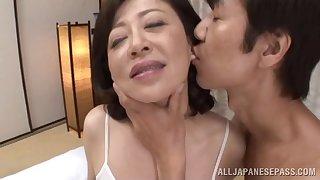 Erotic fucking on the bed nearly mature Asian Chizubu Terashima