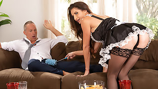 Silvia Saige cleans up a mess before fucking a married man