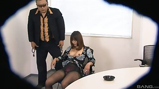 Sweet Asian chick Yuki basic coupled with fingered exceeding a chair. HD