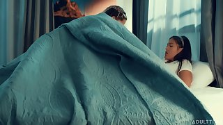 The babes unspoken for their sleepover with lesbian lovemaking