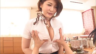 Asian chick Oshikawa Yuri drops on her knees to drag inflate a prick