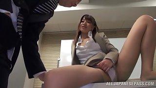 Skinny Japanese secretary Ayu Sakurai moans by way of a quickie