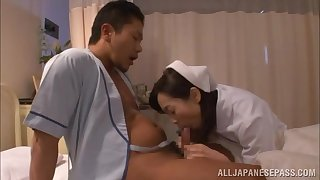 Seductive Japanese nurse tries to heal patient with smart porn
