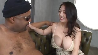 Black man with a upper case detect gets a blowjob from pretty Mako Oda