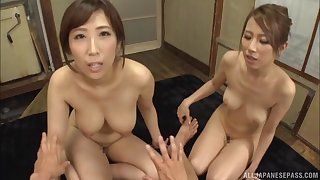 Amateur orgy between a lucky guy with an increment of cock hungry Japanese cuties