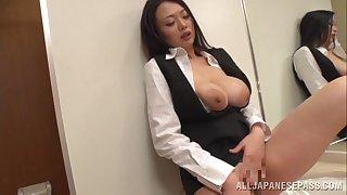 Awesome Japanese secretary Nachi Kurosawa masturbates and gives nut