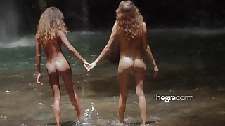 Teen Girls Stark naked in Bali Waterfall