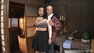 Nude busty Japan woman available to fuck elder statesman guy
