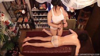 Lucky man gets his dick pleasured hard by oiled Japanese Kanno Sayuki