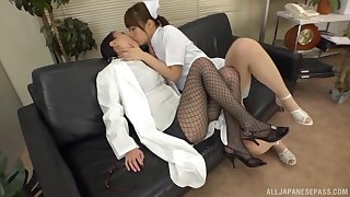 Asian nurse goes brisk mode with female's wet pussy