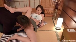 Japanese mature lets horny stepson handle their way bush