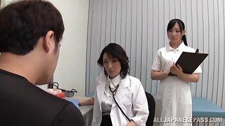 Horny nurses sucking a dick in FFM threesome in the Hospital