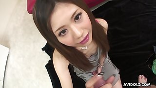 Cum hot to trot Asian nympho Aya Sugiura stands on knees as she wanna suck dicks