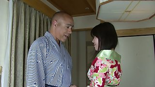 Seductive Asian geisha in kimono Nozomi Onuki serves her man like nobody else before