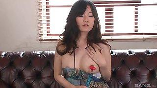 Toying the pussy of a Japanese beauty Manami Komukai