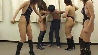 Hot asian girls beat up weak guy