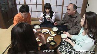 Perverted stepbrother is licking pussy of yummy Japanese girl Mai Shimizu