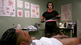 Busty Asian MILF nurse Mia Little rides black cock at the office