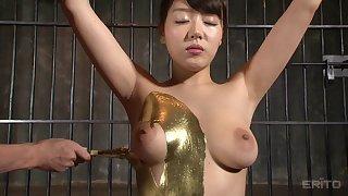 Golden Japanese sex slave loves choking on a fat member