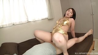 Beamy ass Japanese mom rides the dick like she's a whore