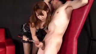 Japanese girl femdom raillery handjob